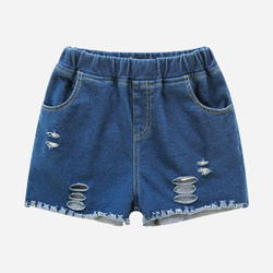 Ribbed Elastic Band Soft Denim Shorts