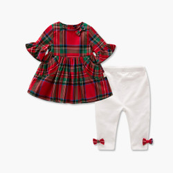 Two Piece Checkered Bow Frill Top & Pants Set