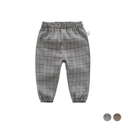 Elastic Band Checkered Cuff Long Pants