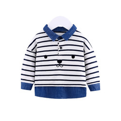 Faux Two Piece Stripe Collared Long Sleeve Shirt