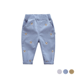 Embroidered Cartoon Bear Long Pants