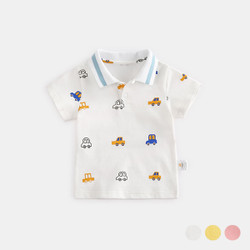 Printed Cartoon Cars Stripe Collar Tee