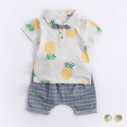 Two Piece Printed Pineapple Top & Shorts Set