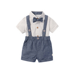 Two Piece Bow Polo Stripe Romper & Suspender Shorts Set