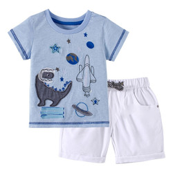 Casual Patched Space Dino Tee & Shorts Set