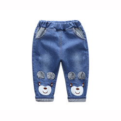 Cartoon Bear Patched Ears Jeans