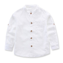 Contrast Button Mandarin Collar Long Sleeve Shirt