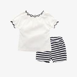658640d844e8 Two Piece Casual Contrast Shirt & Stripe Shorts Set