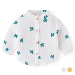 Printed Cacti Mandarin Collar Cotton Long Sleeve Shirt