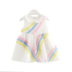 Frill Color Stripes Sleeveless Dress