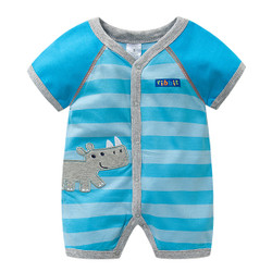 Rhino Patched Short Sleeve Romper