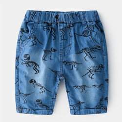 Printed Skeletal Dino Soft Denim Shorts