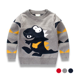 Contrast Dino Pullover Knit Sweater