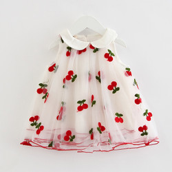 Embroidered Cherries Collar Mesh Dress