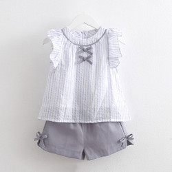 Two Piece Frill Sleeve Ribbon Stripe Blouse & Shorts Set