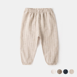 Stripe Lightweight Elastic Band Linen Pants