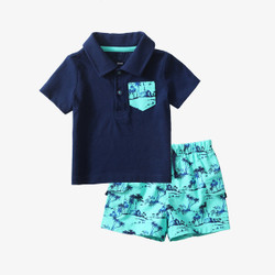 Two Piece Patched Collar Polo Tee and Printed Shorts Set
