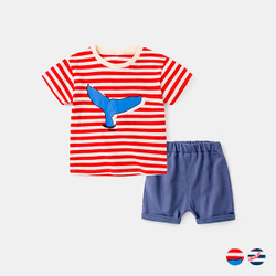 Two Piece Printed Stripe Tee & Shorts Set