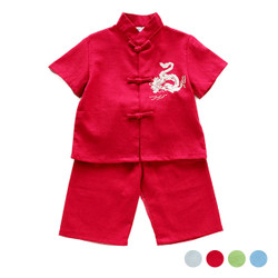 Two Piece Embroidered Dragon Samfu Shirt & Pants Set