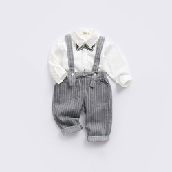 Two Piece Faux Bow Long Sleeve Shirt & Pinstripe Pants Set