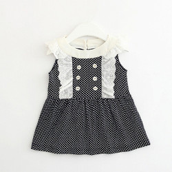 Lace Trim Button Polka Dot Skater Dress