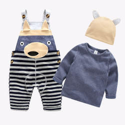 Three Piece Long Sleeve Tee & Bear Overalls Set