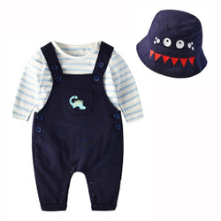 Three Piece Dinosaur Overalls & Long Sleeve Tee Set