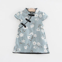 Printed Florals Baby Blue Cheongsam Dress