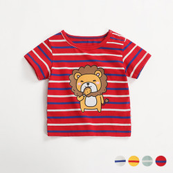 Cartoon Hungry Lion Stripe Tee