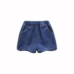 Scallop Hem Trim Elastic Band Denim Shorts