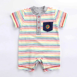 Contrast Pocket Rainbow Stripe Romper