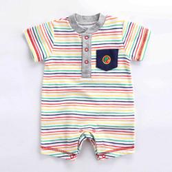 Contrast Pocket Rainbow Stripe Romper