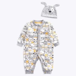 Two Piece Printed Animal Hat & Long Sleeve Romper