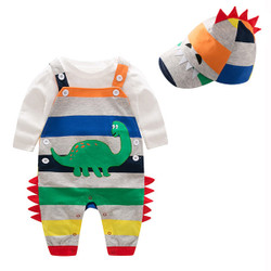 Three Piece Dinosaur Rainbow Stripe Overalls Set