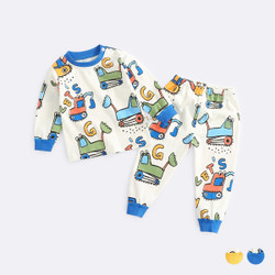 Cartoon Excavator Pajamas Set