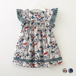Retro Floral Frill Sleeve Skater Dress