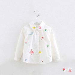 Embroidered Cartoon Collar Long Sleeve Blouse
