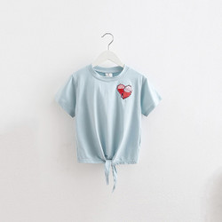 Casual Tie Front Sequin Heart Tee