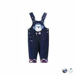 Cartoon Checkered Denim Overalls