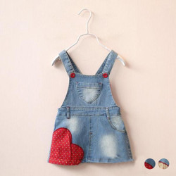 Heart Denim Overalls