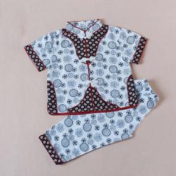 Contrast Lined Samfu Shirt & Pants Set