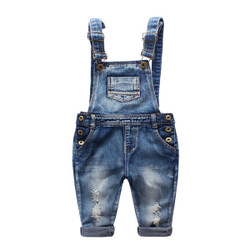 Ribbed Faded Pocket Denim Overalls