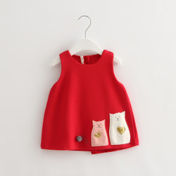 Cartoon Cat Patched Dress