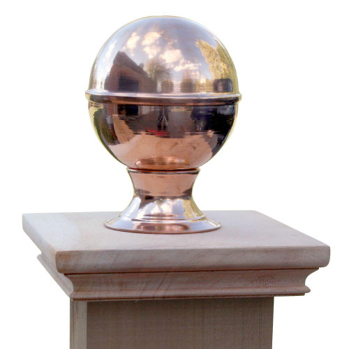 Miterless Post Cap™ base with copper finial globe. Copper globe screws directly into one-piece wood base and secures with Liquid Nail