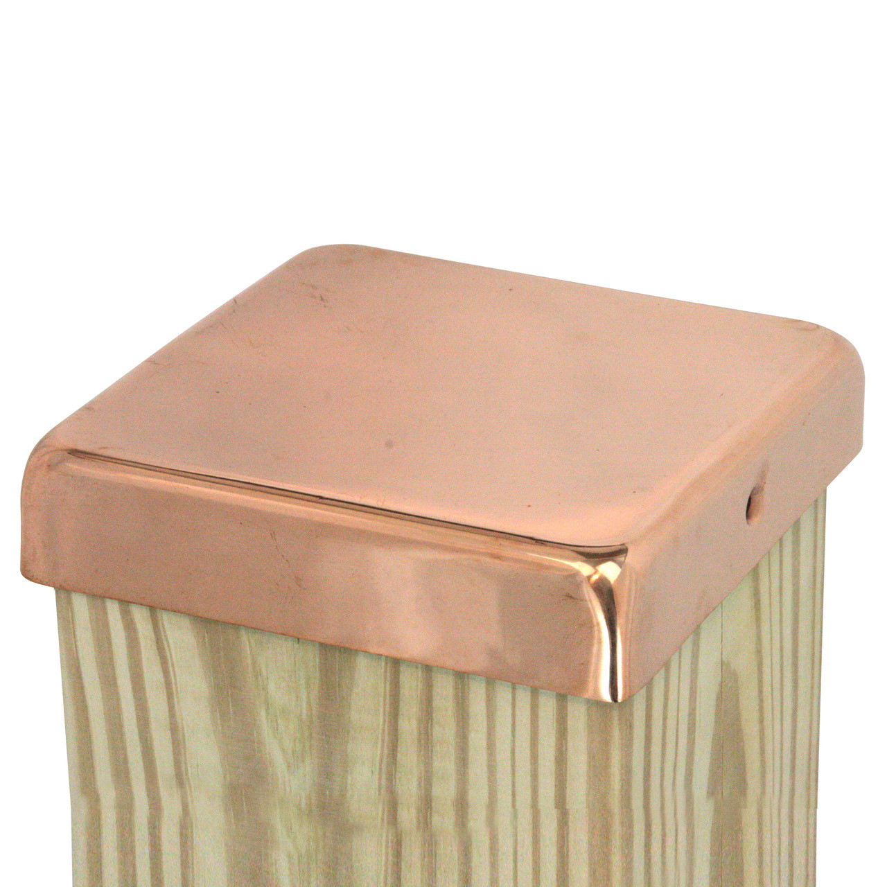 0cd90fccad1b2 100% Copper Flat Top Post Caps sit directly on top of your fence or deck