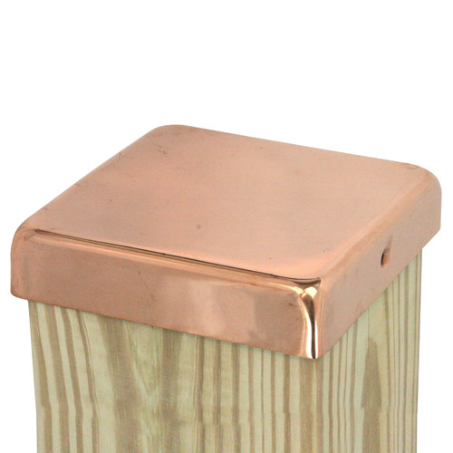 """100% Copper Flat Top Post Caps sit directly on top of your fence or deck posts and provide decades of protection from the weather. Our 20-gauge copper fence caps come in 4x4, 4x6, 6x6, and 8x8 inch sizes, and our signature 1"""" lip protects fence and deck posts better than the competition."""