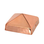 """100% Copper Pyramid Post Caps sit directly on top of your fence or deck posts and provide decades of protection from the weather. Our 20-gauge copper fence caps come in 4x4, FULL 4x4, 4x6, 5x5, 6x6, FULL 6x6, and 8x8 inch sizes, and our signature 3/4"""" lip protects fence and deck posts better than the competition."""