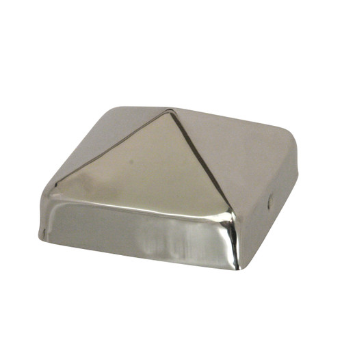 Stainless Steel Pyramid Fence Post Caps sit directly on top of your fence or deck posts and provide decades of protection from the weather. Our 20-gauge Steel Pyramid Post Caps come in 4x4, FULL 4x4, 4x6, 5x5, 6x6, FULL 6x6, and 8x8 inch sizes.
