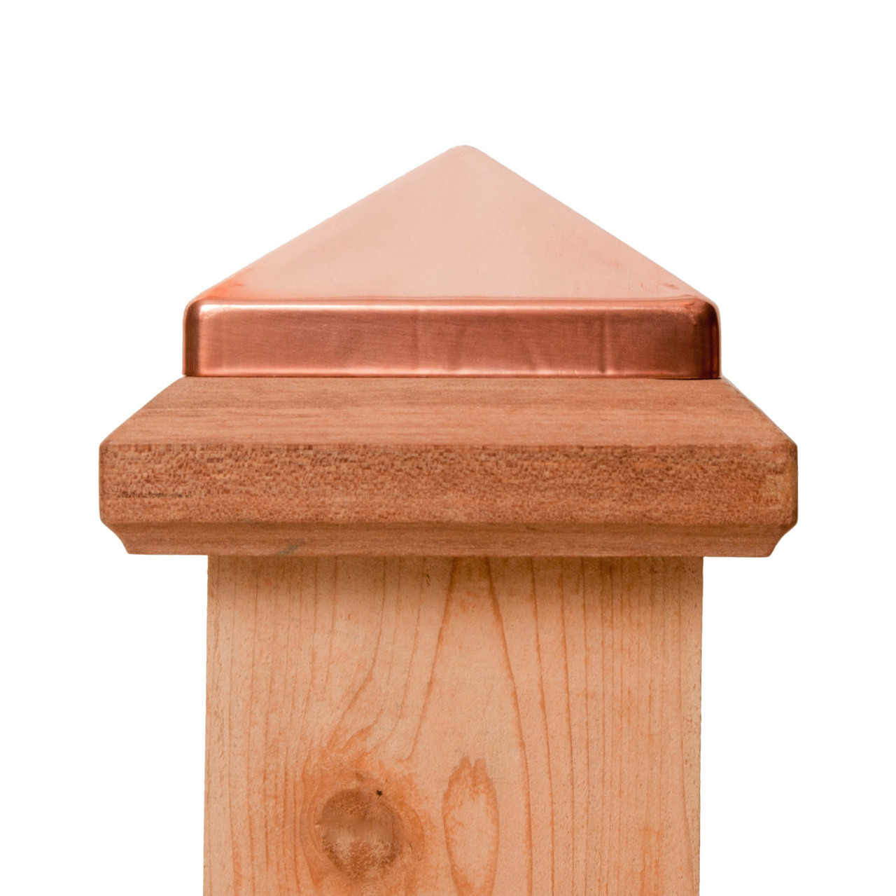 4x4 Traditional Miterless Wood Post Cap™ w/ Copper Pyramid