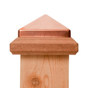 Traditional Wood Base with Copper Pyramid post cap. Fits 4x4 inch posts and mounts with Liquid Nail. Provides ultimate protection for your fence or deck posts from rain or weather damage by capping the end-grain of the wood and preventing water from soaking into the post.